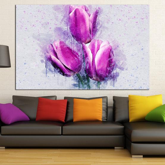 Canvas prints & wall decorative panels - 1 piece №0851 » Purple, Gray, Milky pink » Flower, Plant, Blossom, Pink, Petal Form #1