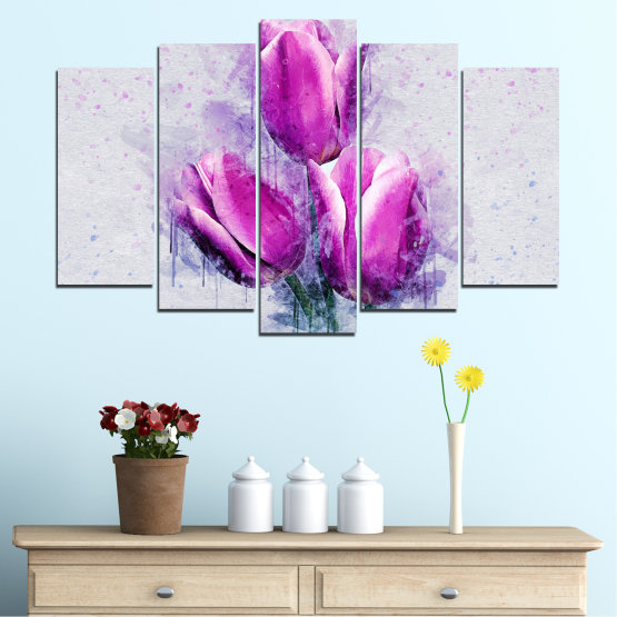 Canvas prints & wall decorative panels - 5 pieces №0851 » Purple, Gray, Milky pink » Flower, Plant, Blossom, Pink, Petal Form #1