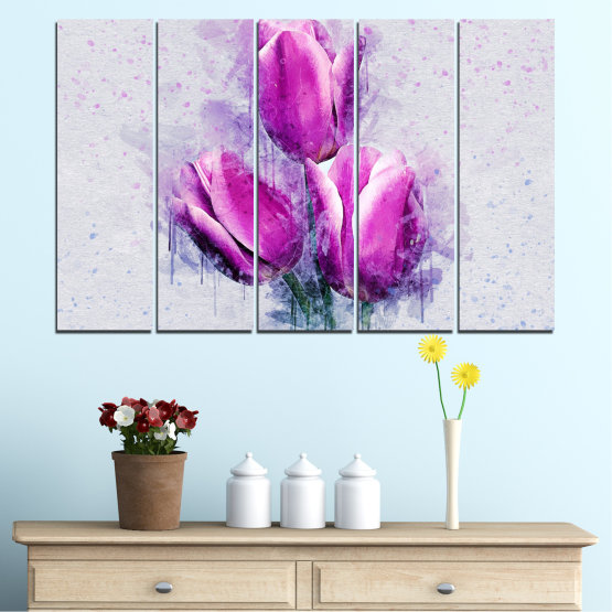 Canvas prints & wall decorative panels - 5 pieces №0851 » Purple, Gray, Milky pink » Flower, Plant, Blossom, Pink, Petal Form #2