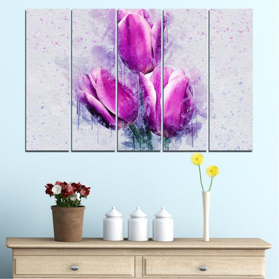 Декоративни панели и картини от канава - от 5 части №0851 » Лилав, Сив, Млечно розов » Цвете, Растение, Цвят, Розов, Венчелистче Form #2