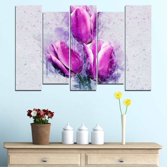 Canvas prints & wall decorative panels - 5 pieces №0851 » Purple, Gray, Milky pink » Flower, Plant, Blossom, Pink, Petal Form #3