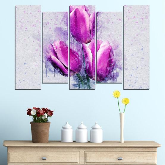 Декоративни панели и картини от канава - от 5 части №0851 » Лилав, Сив, Млечно розов » Цвете, Растение, Цвят, Розов, Венчелистче Form #3
