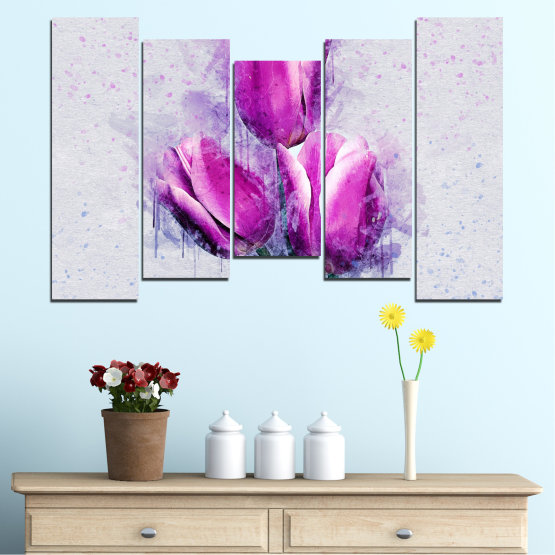 Canvas prints & wall decorative panels - 5 pieces №0851 » Purple, Gray, Milky pink » Flower, Plant, Blossom, Pink, Petal Form #4