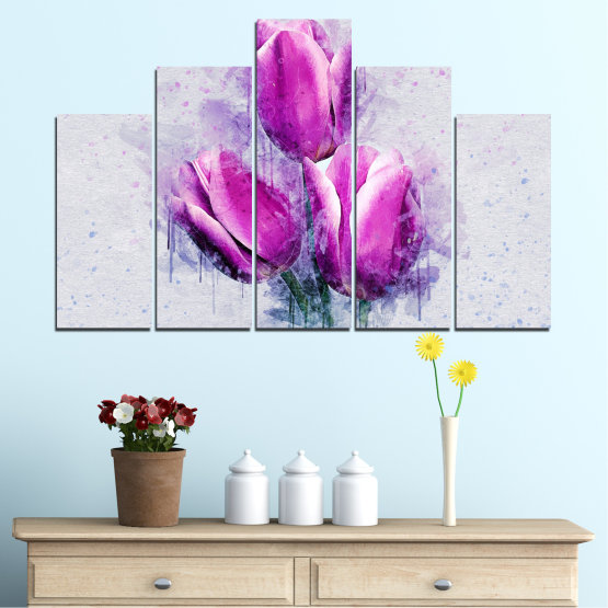 Canvas prints & wall decorative panels - 5 pieces №0851 » Purple, Gray, Milky pink » Flower, Plant, Blossom, Pink, Petal Form #5