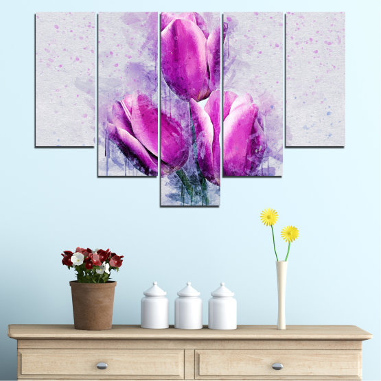 Canvas prints & wall decorative panels - 5 pieces №0851 » Purple, Gray, Milky pink » Flower, Plant, Blossom, Pink, Petal Form #6