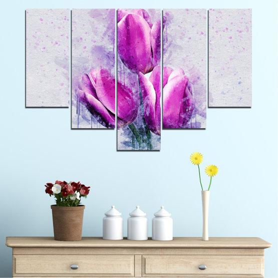Декоративни панели и картини от канава - от 5 части №0851 » Лилав, Сив, Млечно розов » Цвете, Растение, Цвят, Розов, Венчелистче Form #6