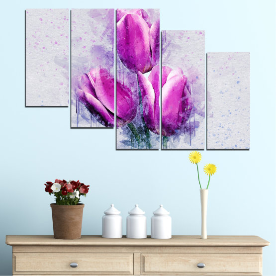 Canvas prints & wall decorative panels - 5 pieces №0851 » Purple, Gray, Milky pink » Flower, Plant, Blossom, Pink, Petal Form #7