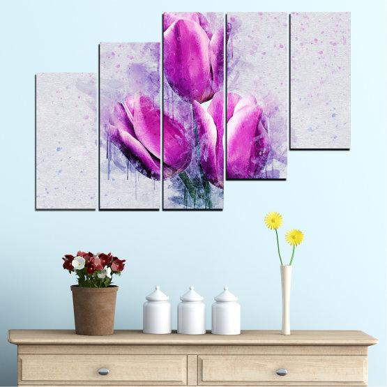 Декоративни панели и картини от канава - от 5 части №0851 » Лилав, Сив, Млечно розов » Цвете, Растение, Цвят, Розов, Венчелистче Form #8
