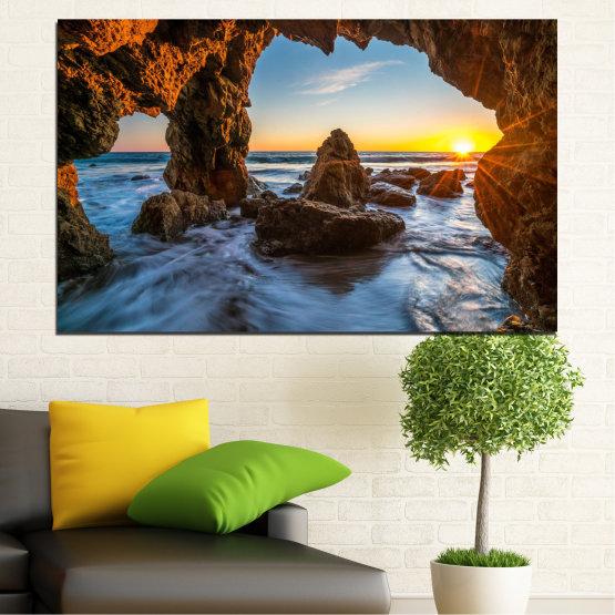 Canvas prints & wall decorative panels - 1 piece №0852 » Yellow, Brown, Black » Sea, Ocean, Beach Form #1