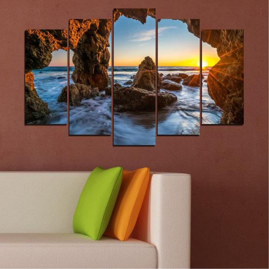 Canvas prints & wall decorative panels - 5 pieces №0852 » Yellow, Brown, Black » Sea, Ocean, Beach Form #1
