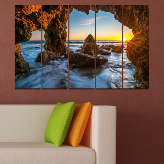 Canvas prints & wall decorative panels - 5 pieces №0852 » Yellow, Brown, Black » Sea, Ocean, Beach Form #2