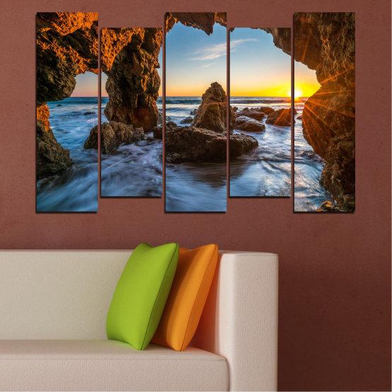 Canvas prints & wall decorative panels - 5 pieces №0852 » Yellow, Brown, Black » Sea, Ocean, Beach Form #3