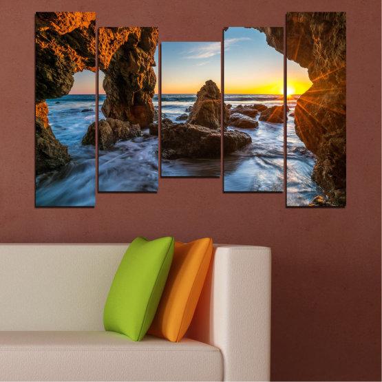 Canvas prints & wall decorative panels - 5 pieces №0852 » Yellow, Brown, Black » Sea, Ocean, Beach Form #4