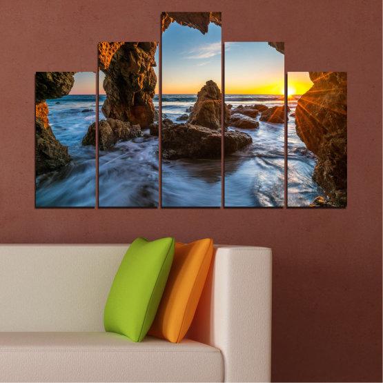 Canvas prints & wall decorative panels - 5 pieces №0852 » Yellow, Brown, Black » Sea, Ocean, Beach Form #5