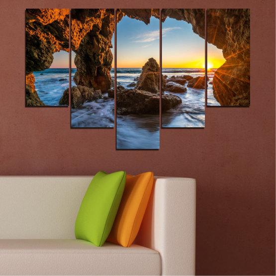Canvas prints & wall decorative panels - 5 pieces №0852 » Yellow, Brown, Black » Sea, Ocean, Beach Form #6