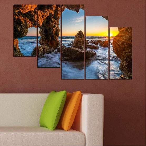 Canvas prints & wall decorative panels - 5 pieces №0852 » Yellow, Brown, Black » Sea, Ocean, Beach Form #7