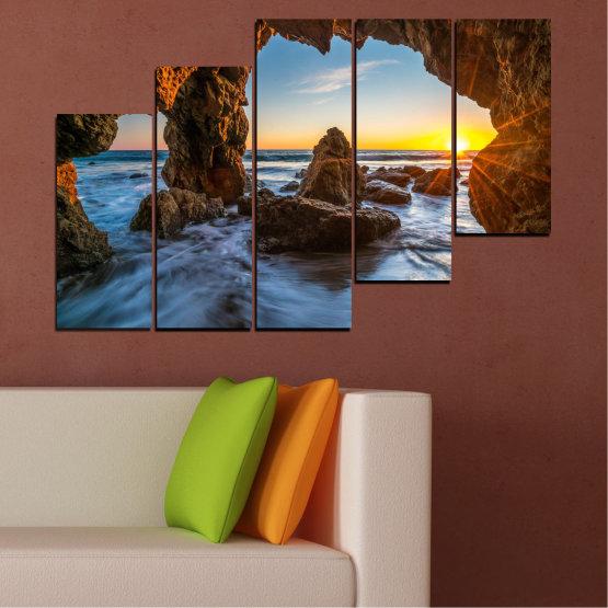 Canvas prints & wall decorative panels - 5 pieces №0852 » Yellow, Brown, Black » Sea, Ocean, Beach Form #8