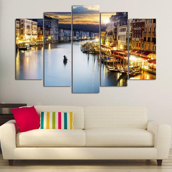 Canvas prints & wall decorative panels - 5 pieces №0853 » Orange, Beige, Dark grey » Water, City, Waterfront Form #1