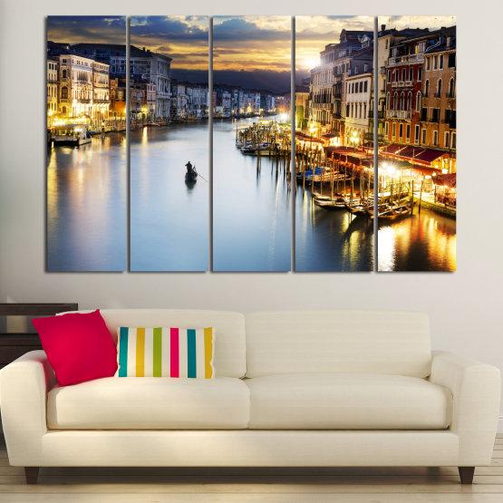 Canvas prints & wall decorative panels - 5 pieces №0853 » Orange, Beige, Dark grey » Water, City, Waterfront Form #2