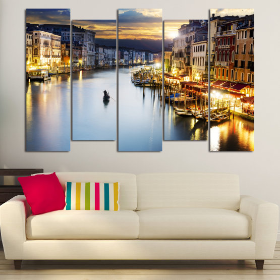 Canvas prints & wall decorative panels - 5 pieces №0853 » Orange, Beige, Dark grey » Water, City, Waterfront Form #3