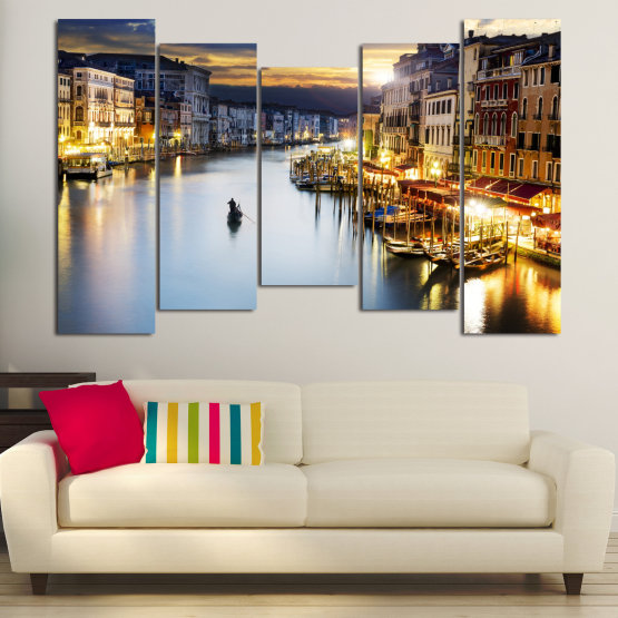 Canvas prints & wall decorative panels - 5 pieces №0853 » Orange, Beige, Dark grey » Water, City, Waterfront Form #4