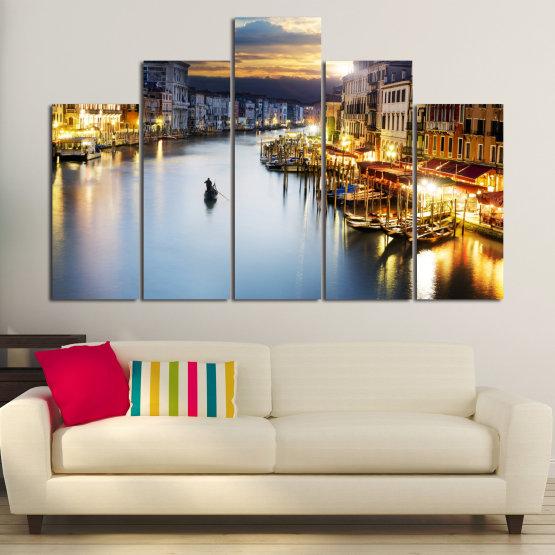 Canvas prints & wall decorative panels - 5 pieces №0853 » Orange, Beige, Dark grey » Water, City, Waterfront Form #5