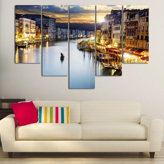 Canvas prints & wall decorative panels - 5 pieces №0853 » Orange, Beige, Dark grey » Water, City, Waterfront Form #6