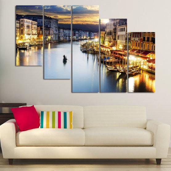 Canvas prints & wall decorative panels - 5 pieces №0853 » Orange, Beige, Dark grey » Water, City, Waterfront Form #7
