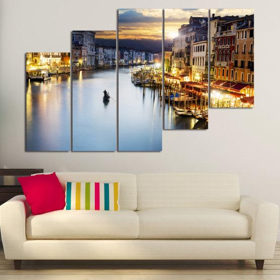 Canvas prints & wall decorative panels - 5 pieces №0853 » Orange, Beige, Dark grey » Water, City, Waterfront Form #8
