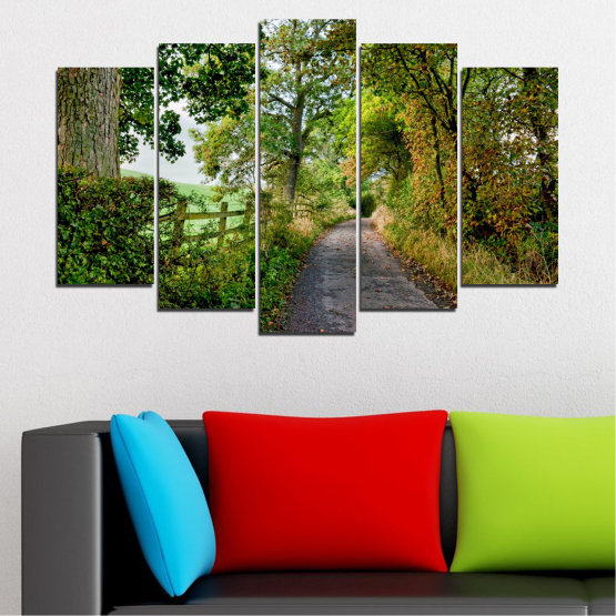 Canvas prints & wall decorative panels - 5 pieces №0854 » Green, Brown » Forest, Tree, Park Form #1