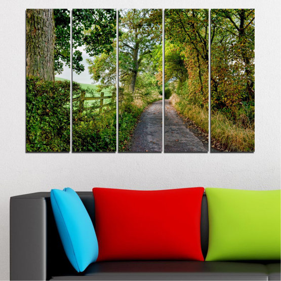 Canvas prints & wall decorative panels - 5 pieces №0854 » Green, Brown » Forest, Tree, Park Form #2