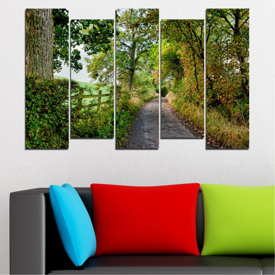 Canvas prints & wall decorative panels - 5 pieces №0854 » Green, Brown » Forest, Tree, Park Form #3