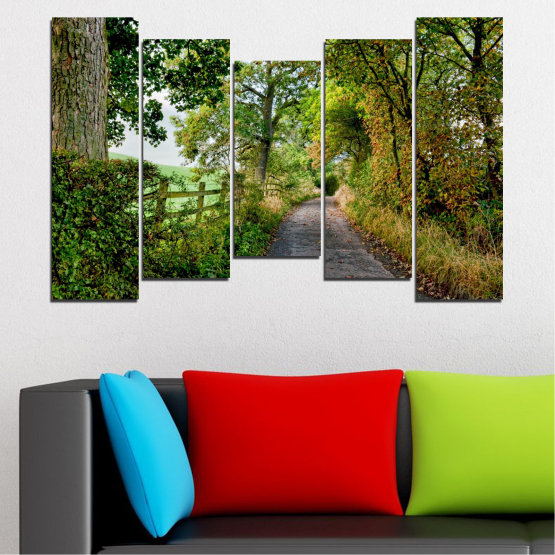 Canvas prints & wall decorative panels - 5 pieces №0854 » Green, Brown » Forest, Tree, Park Form #4