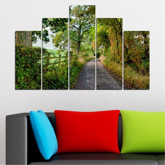Canvas prints & wall decorative panels - 5 pieces №0854 » Green, Brown » Forest, Tree, Park Form #5