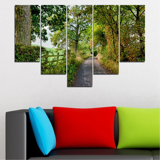 Canvas prints & wall decorative panels - 5 pieces №0854 » Green, Brown » Forest, Tree, Park Form #6