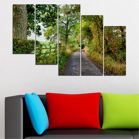 Canvas prints & wall decorative panels - 5 pieces №0854 » Green, Brown » Forest, Tree, Park Form #7