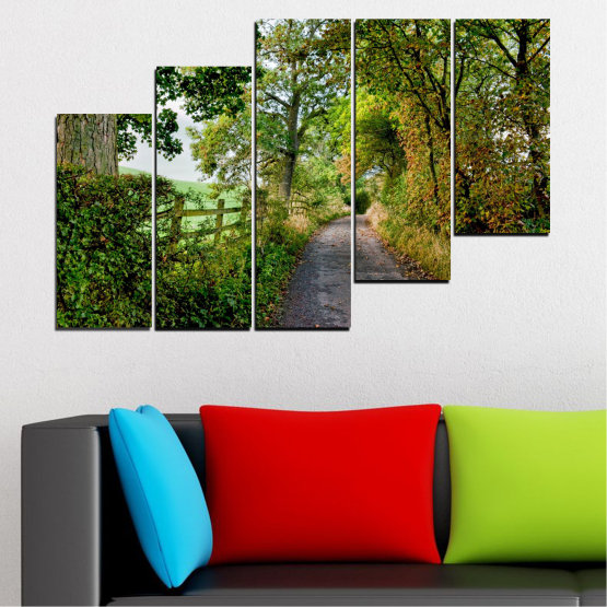 Canvas prints & wall decorative panels - 5 pieces №0854 » Green, Brown » Forest, Tree, Park Form #8