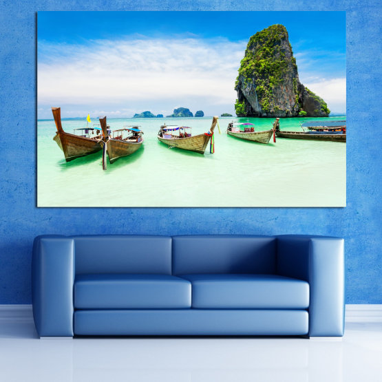 Canvas prints & wall decorative panels - 1 piece №0855 » Blue, Turquoise, White » Sea, Beach, Island, Boat Form #1