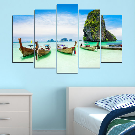 Canvas prints & wall decorative panels - 5 pieces №0855 » Blue, Turquoise, White » Sea, Beach, Island, Boat Form #1