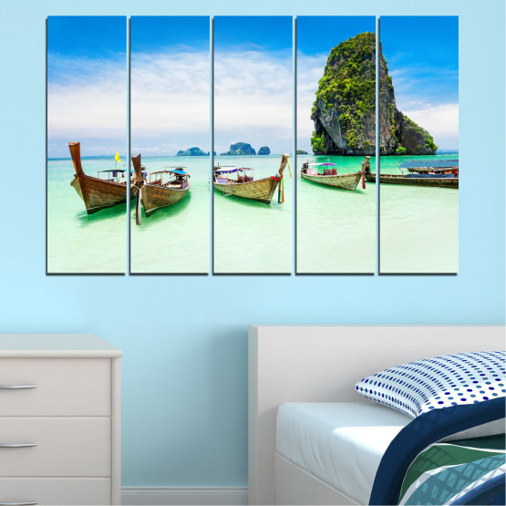 Canvas prints & wall decorative panels - 5 pieces №0855 » Blue, Turquoise, White » Sea, Beach, Island, Boat Form #2