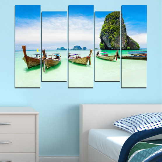 Canvas prints & wall decorative panels - 5 pieces №0855 » Blue, Turquoise, White » Sea, Beach, Island, Boat Form #3