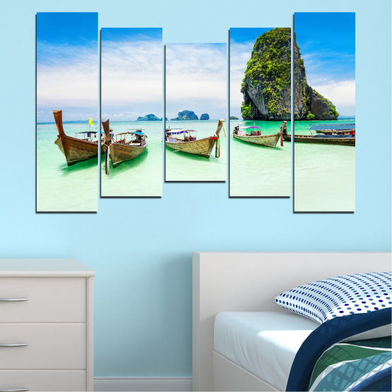 Canvas prints & wall decorative panels - 5 pieces №0855 » Blue, Turquoise, White » Sea, Beach, Island, Boat Form #4