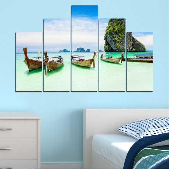 Canvas prints & wall decorative panels - 5 pieces №0855 » Blue, Turquoise, White » Sea, Beach, Island, Boat Form #5