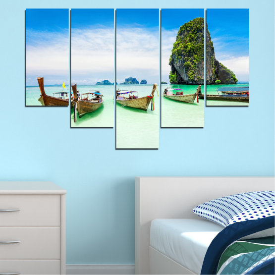 Canvas prints & wall decorative panels - 5 pieces №0855 » Blue, Turquoise, White » Sea, Beach, Island, Boat Form #6
