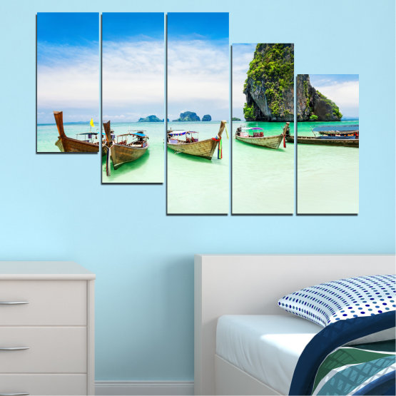 Canvas prints & wall decorative panels - 5 pieces №0855 » Blue, Turquoise, White » Sea, Beach, Island, Boat Form #7