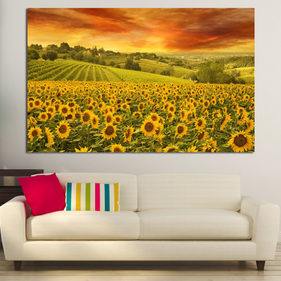 Canvas prints & wall decorative panels - 1 piece №0856 » Green, Orange, Brown » Flower, Landscape, Spring, Sky, Summer, Sunflower, Meadow, Plant, Field, Yellow, Sunflowers, Outside Form #1