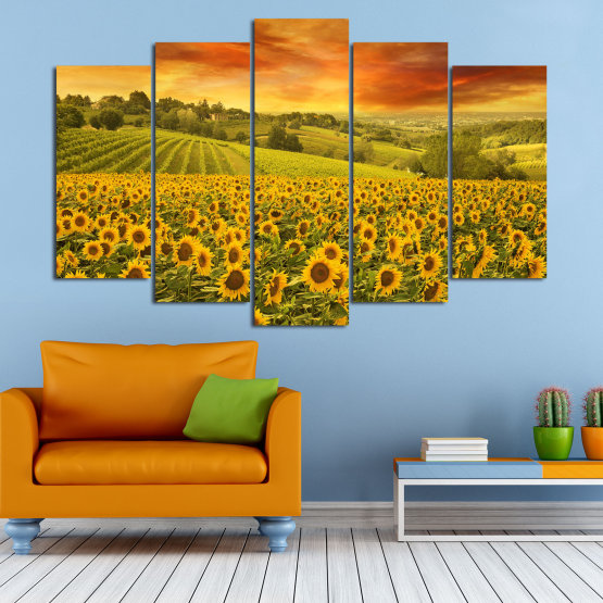 Canvas prints & wall decorative panels - 5 pieces №0856 » Green, Orange, Brown » Flower, Landscape, Spring, Sky, Summer, Sunflower, Meadow, Plant, Field, Yellow, Sunflowers, Outside Form #1
