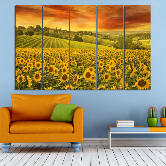 Canvas prints & wall decorative panels - 5 pieces №0856 » Green, Orange, Brown » Flower, Landscape, Spring, Sky, Summer, Sunflower, Meadow, Plant, Field, Yellow, Sunflowers, Outside Form #2