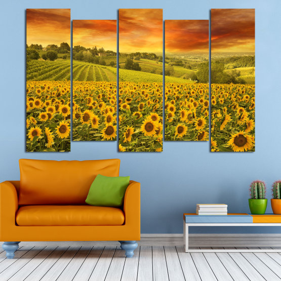 Canvas prints & wall decorative panels - 5 pieces №0856 » Green, Orange, Brown » Flower, Landscape, Spring, Sky, Summer, Sunflower, Meadow, Plant, Field, Yellow, Sunflowers, Outside Form #3