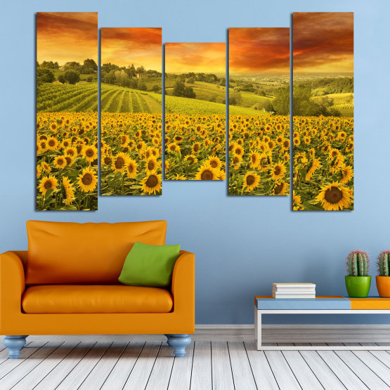Canvas prints & wall decorative panels - 5 pieces №0856 » Green, Orange, Brown » Flower, Landscape, Spring, Sky, Summer, Sunflower, Meadow, Plant, Field, Yellow, Sunflowers, Outside Form #4